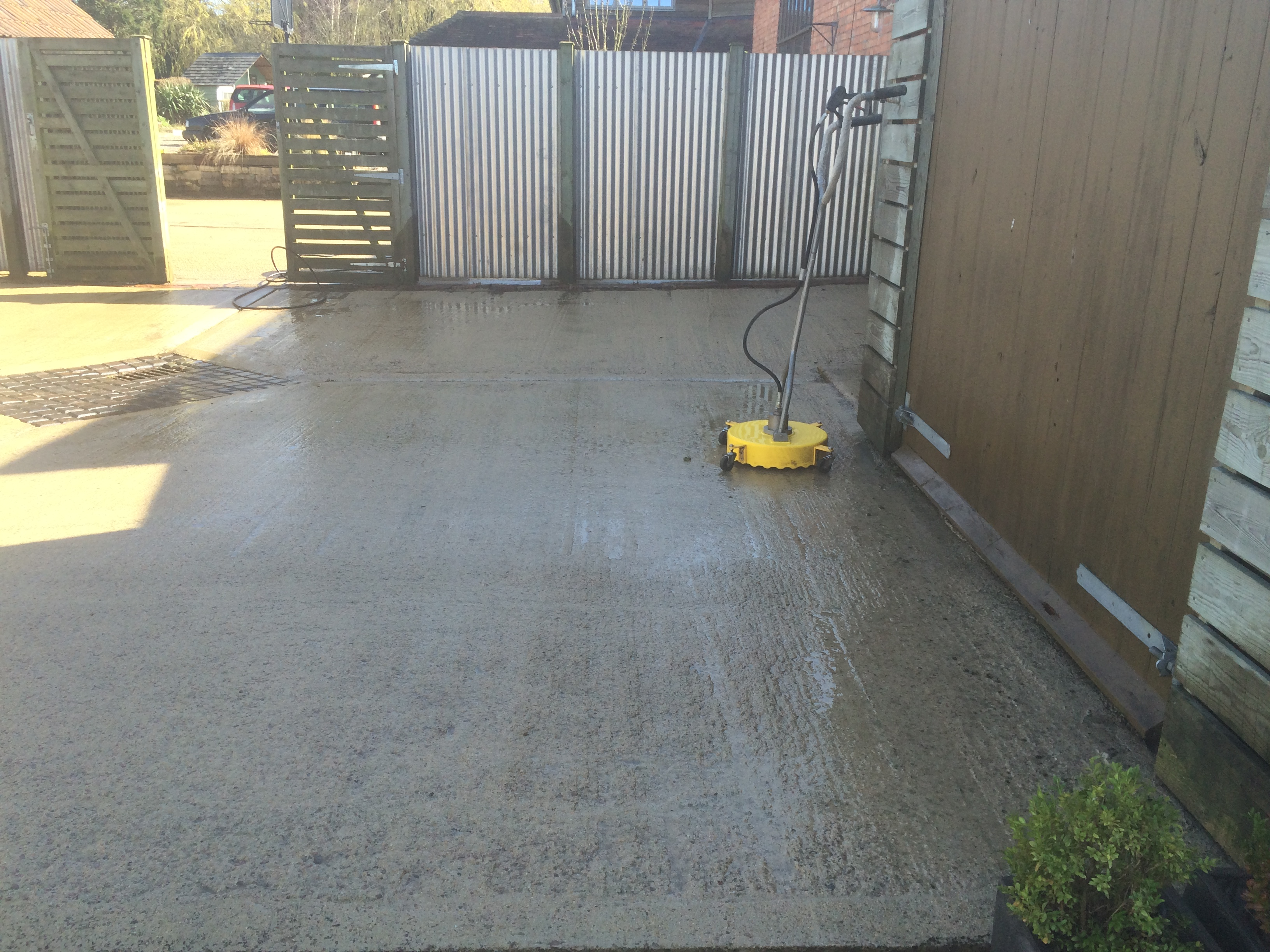 concrete yard now cleaned